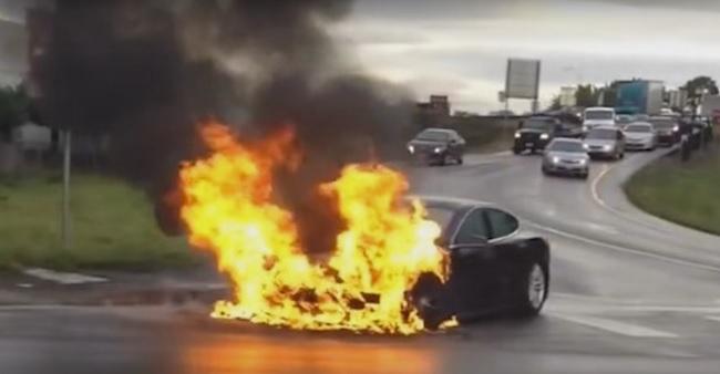 tesla Mobile Battery Explosion