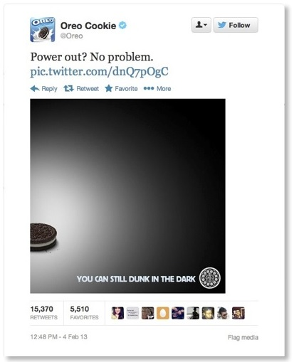 Oreo Superbowl Tweet as newsjacking