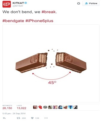 Twitter Newsjacking Examples from Kitkat