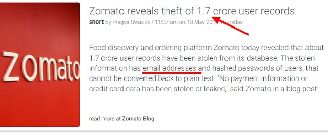 Zomato revealed 1.7 millions of user emails are stolen